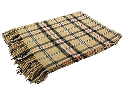 "93e367e1368f0 Biddy Murphy Irish Throw Blanket Beige Plaid 100% Lambswool 54"" Wide by 71"""