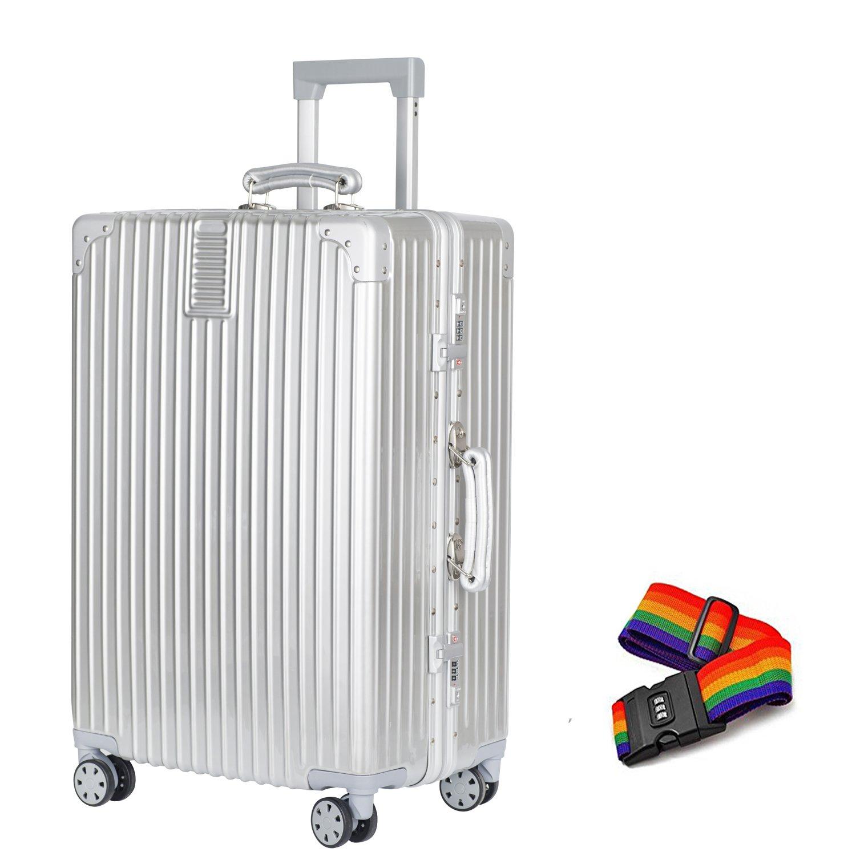 TabiGo スーツケース 軽量 キャリーケース TSAロック搭載 4輪ダブルキャスター 大容量 耐衝撃 B00QPZTJTM Sサイズ(機内持込OK/1~3泊/3.9KG/43L)|シルバー シルバー Sサイズ(機内持込OK/1~3泊/3.9KG/43L)