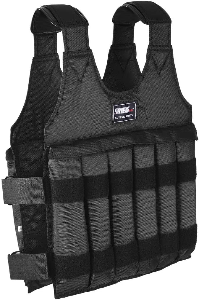Tengma Pro Weighted Vest Adjustable Weight 110lbs for Training Workout Fitness Running Exercise Training Black