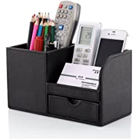 KINGFOM™ Wooden Struction Leather Multi-function Desk Stationery Organizer Storage Box Pen/Pencil ,Cell Phone, Business Name Cards Remote Control Holder Colors (black)