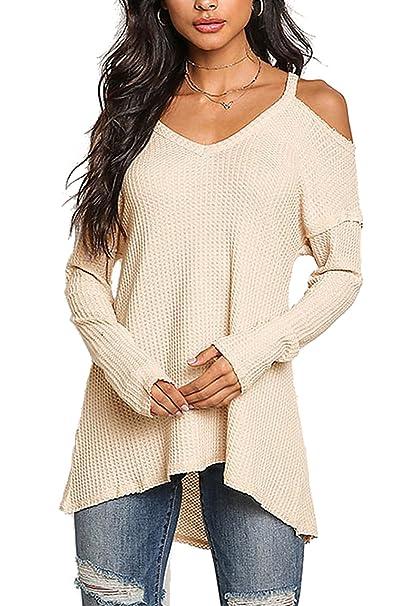 4bd27af0d9156 YOINS Women Cold Shoulder Baggy Shirt Long Sleeves Knitted Top Off Shoulder  Blouses  Amazon.co.uk  Clothing