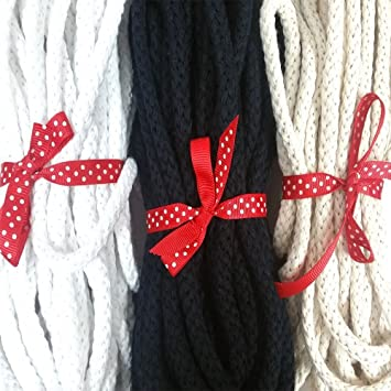Anrox Supply Co 5 Yards, Navy 3//8 Cotton Flat Draw Cord Drawstrings Handles Lace Trim String