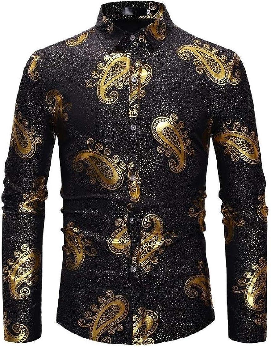 DressUMen Casual Painting Vintage Long Sleeve Lapel Button Top Shirt