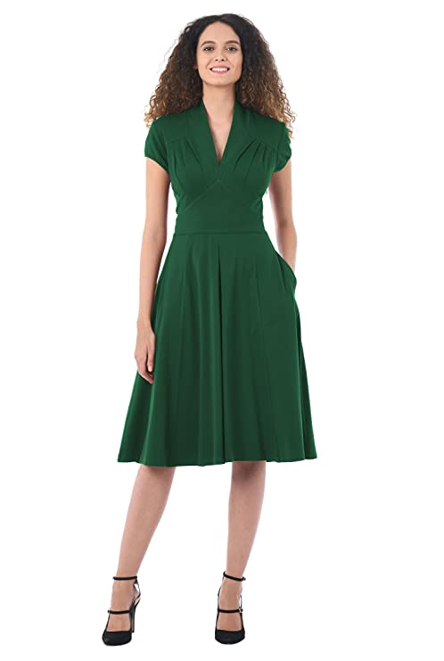 1940s Dresses | 40s Dress, Swing Dress eShakti Womens Feminine Pleated Cotton Knit Dress $49.95 AT vintagedancer.com