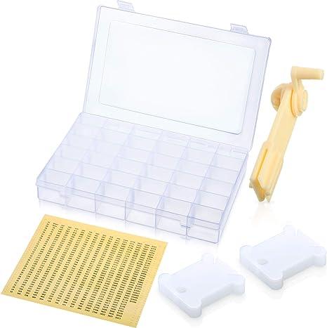 Caja organizadora de punto de cruz con hilo de bordar, incluye 36 rejillas de plástico, bobina
