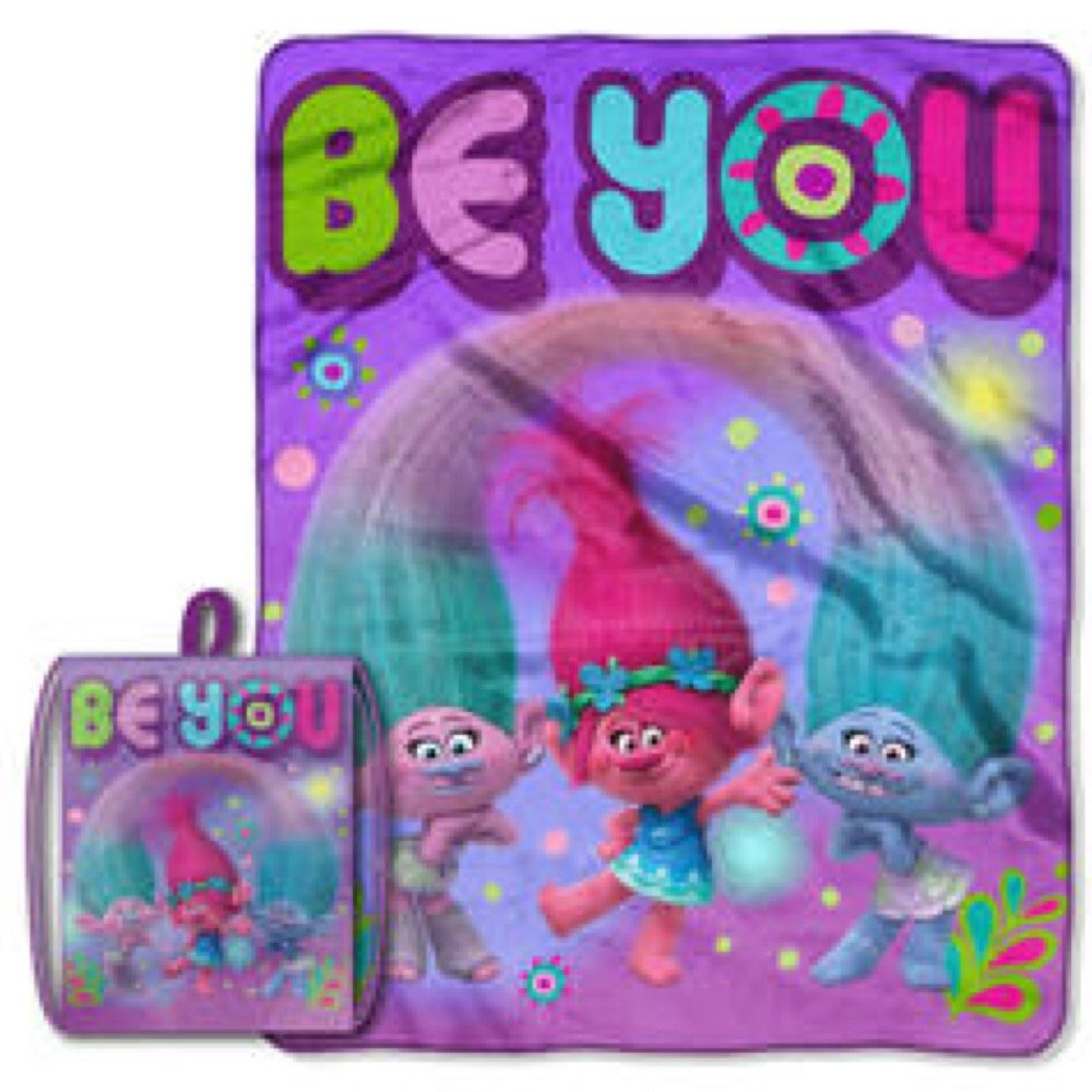 DreamWorks Trolls ''Be You'' Drawstring Tote & Throw Blanket Set