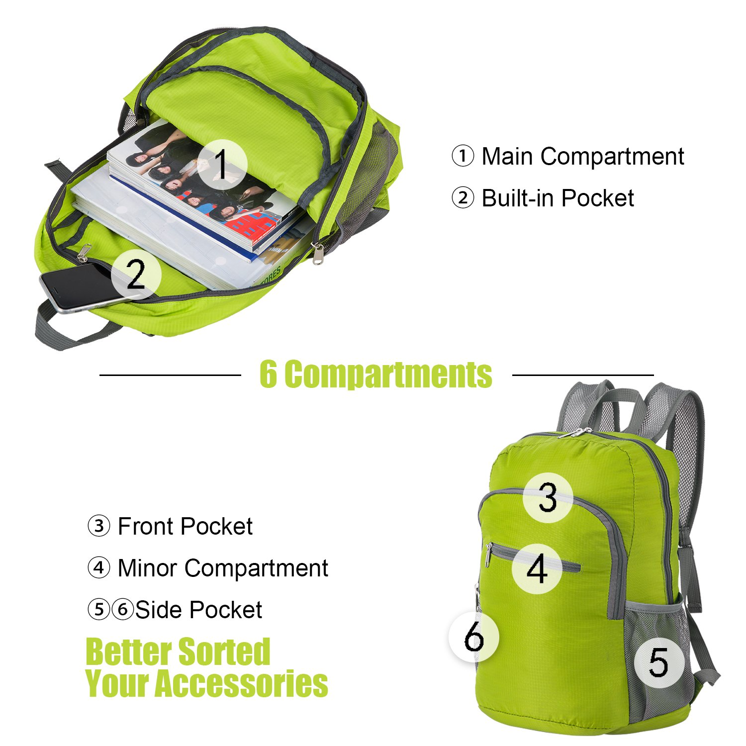 d377a0ebc5 Lightweight Backpack Small Foldable Daypack Packable Travel Bag 20L  Ultralight Water Resistant Durable for Hiking Camping