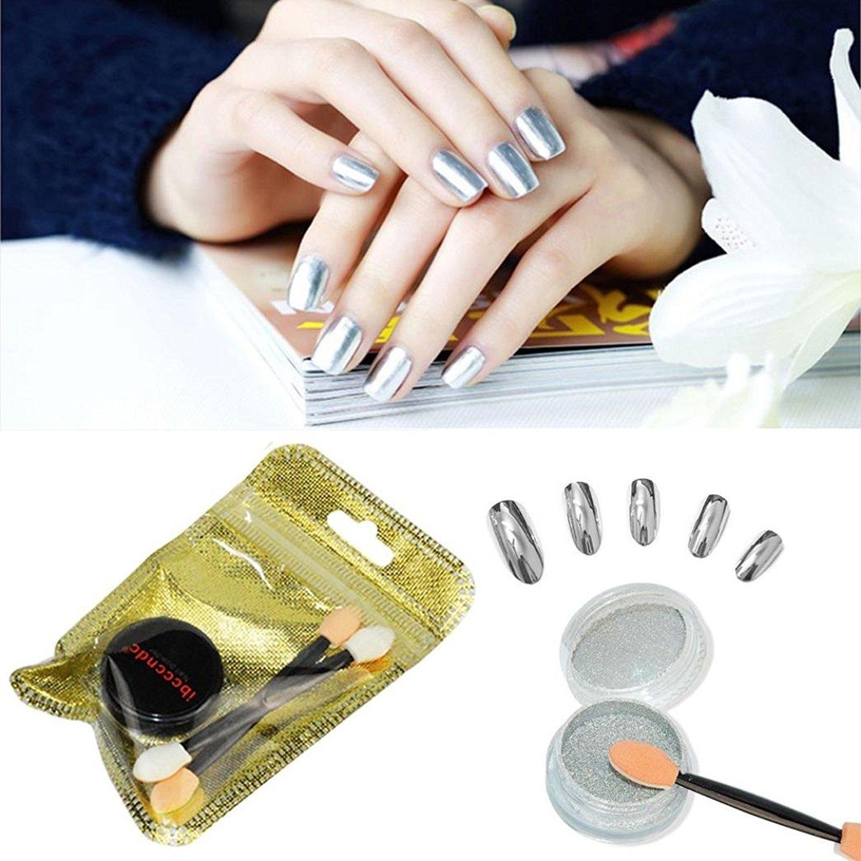 Oksale® Women DIY Mirror Powder Effect Chrome Nails Pigment Gel Polish (Silver)