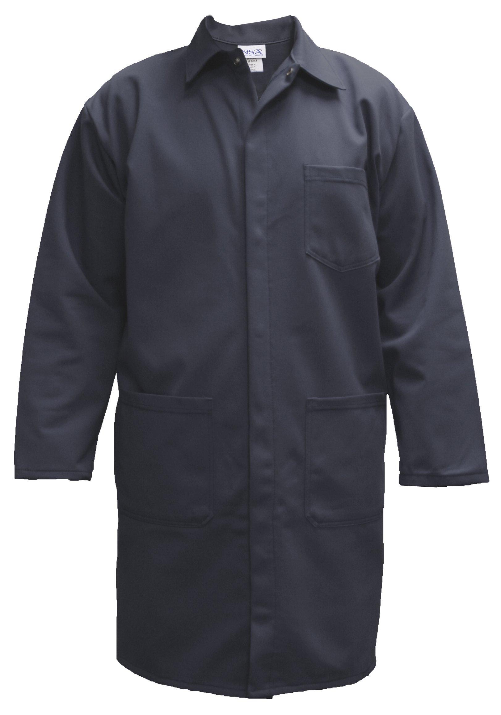 National Safety Apparel C09UPLCLG42 UltraSoft Lab Coat, 88% Cotton, 12% Nylon FR, Large, Navy