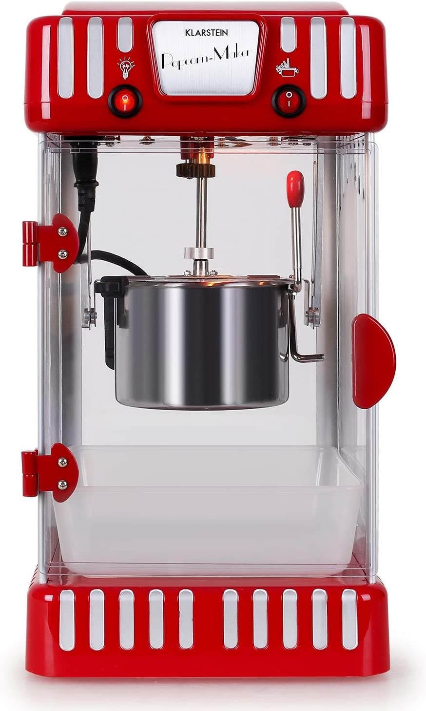 Klarstein Volcano Retro Pop Corn Machine with Removable Stainless Steel Bowl red