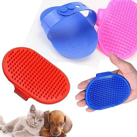 Cepillo de baño para perro, gato, peine de goma, guante de pelo,