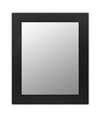 Wood Frame Mirror Modern Elegant Wall Mounted Rectangle Black Finish 3 Inch