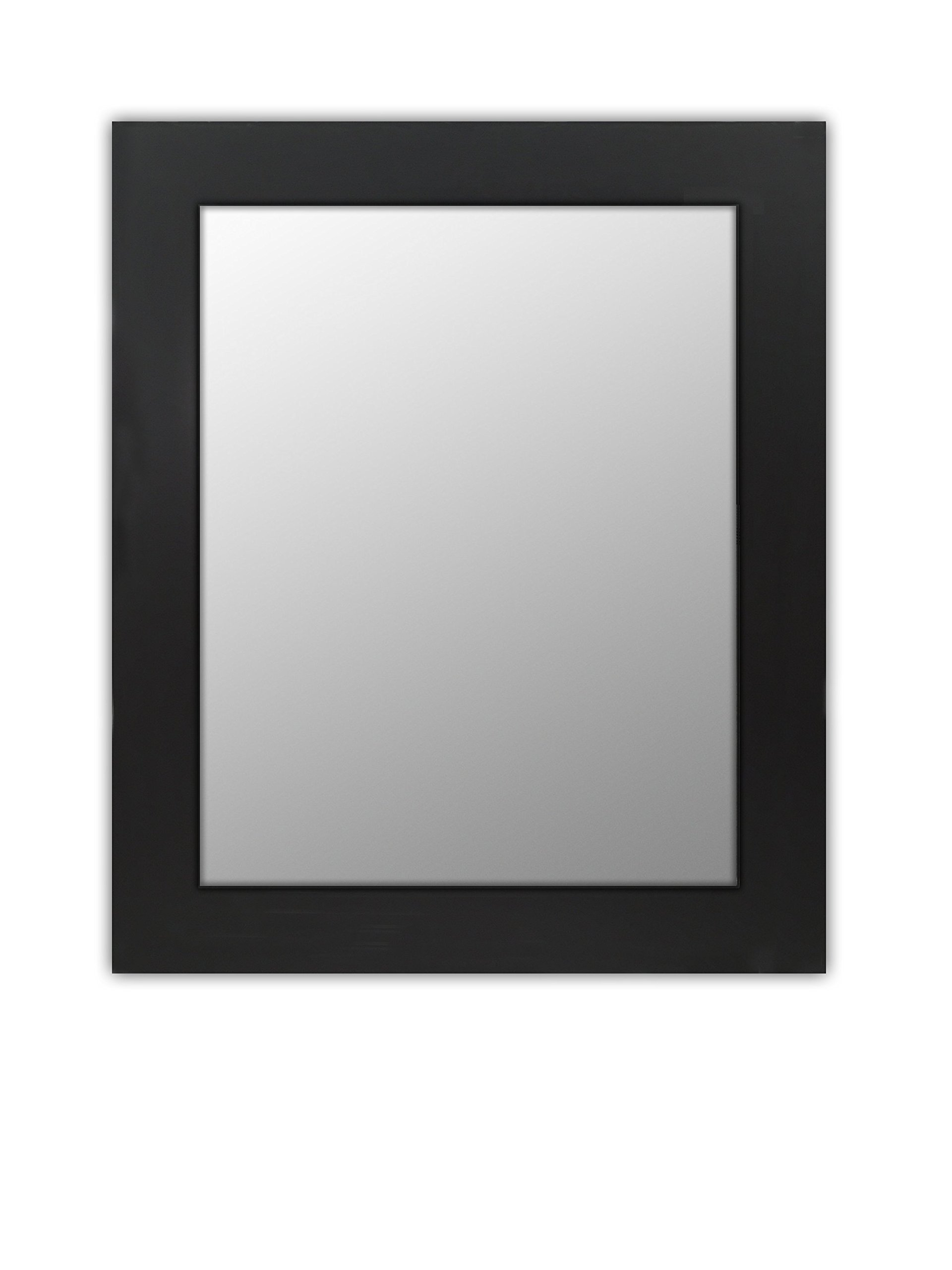 Wood Frame Mirror Modern Elegant Wall Mounted Mirror, Rectangle, Black Finish, 3 inch wide Flat Frame for Bathroom, Vanity, Living Room, Dining Room, Kitchen, Bedroom, Office By Raphael Rozen (16x20)