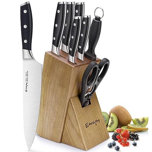Emojoy Juego de Cuchillos de 8 Piezas, Juego de Cuchillos de Cocina de 8 Piezas con Bloque de Madera, Manual de autoafilado para Chef Set de ...