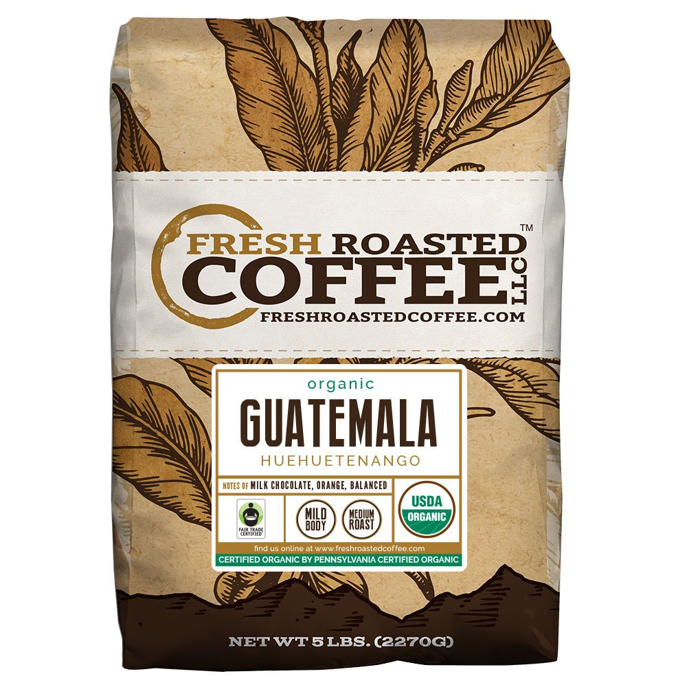 Fresh Roasted Coffee LLC, Organic Guatemalan Huehuetenango Coffee, Medium Roast, USDA Organic, Fair Trade, Whole Bean, 5 Pound Bag by D