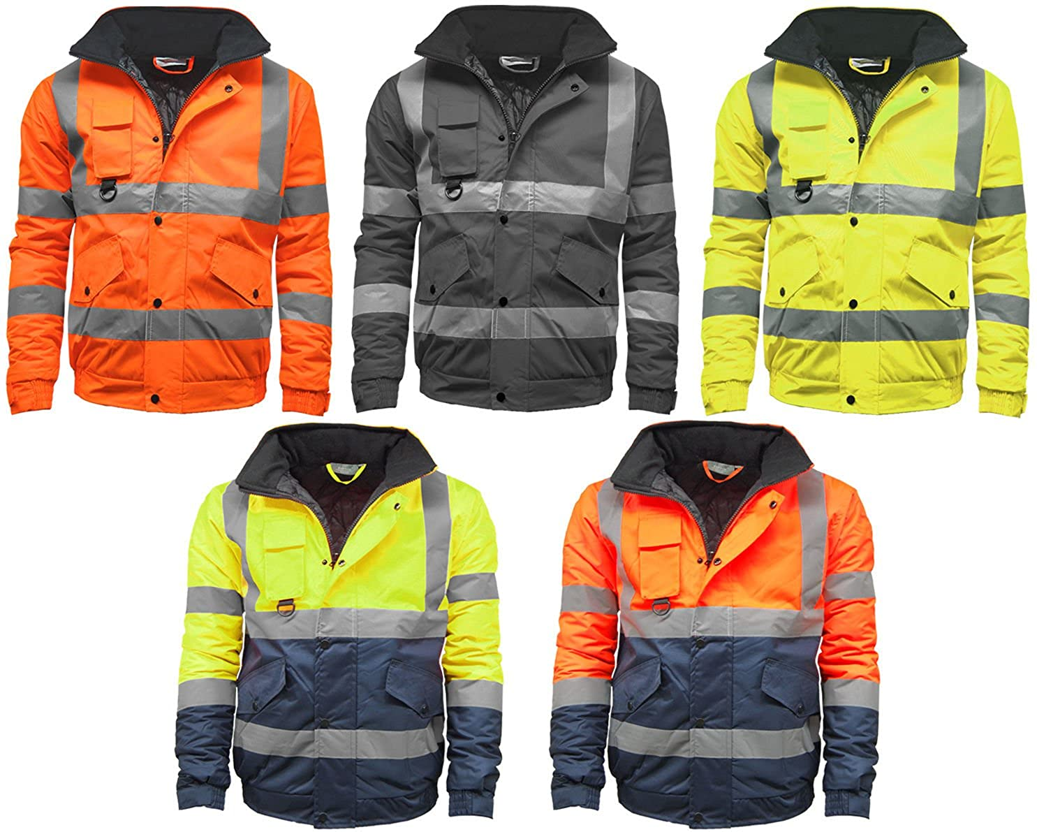 CST STS Mens Waterproof Two Tone Bomber Jacket Hi VIS Visibility Work Wear Hi VIS Standard