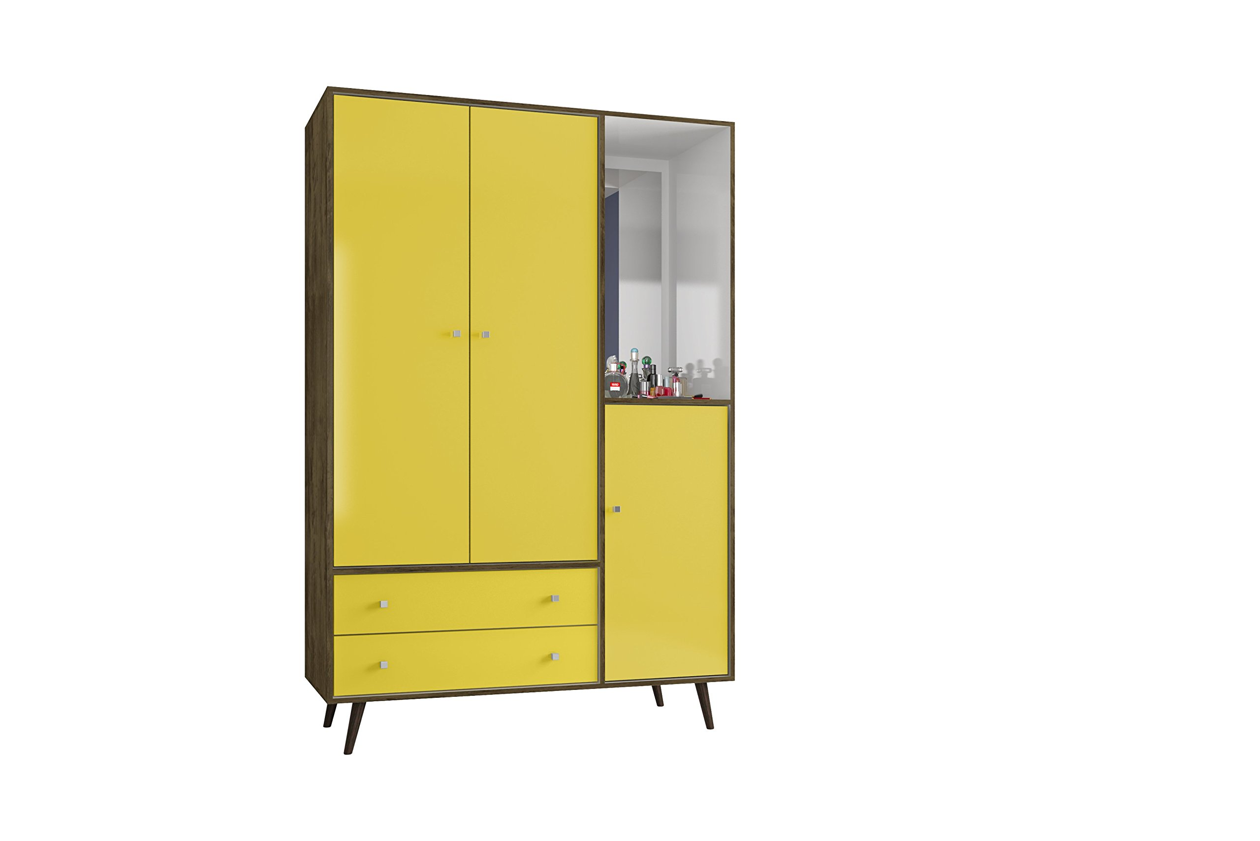 Manhattan Comfort Liberty Collection Mid Century Modern Armoire Closet With Two Cabinets and Two Drawers With Open Shelf Space, Yellow/Wood Trim