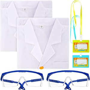 6 Pieces Kids Scientist Role Play Costume Kit Include Unisex Lab Coat Protective Safety Glasses Goggles ID Badge Card Holder for Kids Cosplay Scientist Costume Supplies