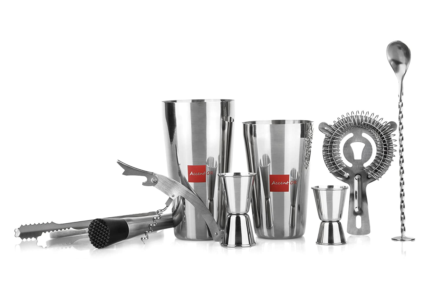 Stainless Steel Bartender Tool Kit: 9 Piece Bartending Set with 25.3 and 20.2 Ounce Cocktail Shaker Tins, 2 measuring Jiggers, Hawthorne Strainer, Mixing Spoon, Muddler, Ice Tongs and Corkscrew Tool