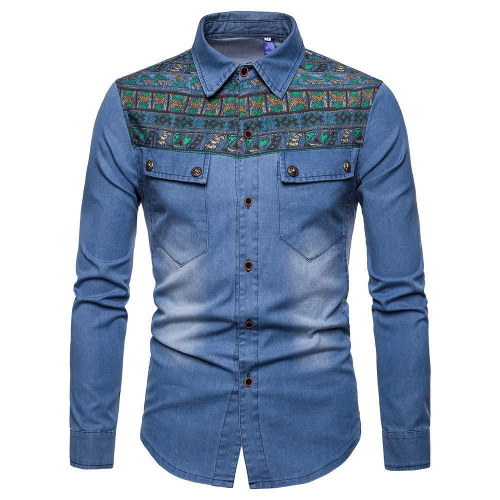 7fec57a6043 Amazon.com  Elogoog Mens coat Men s Denim Slim Fit Jackets Distressed Long  Sleeve Button Casual Work Dress Shirts  Sports   Outdoors
