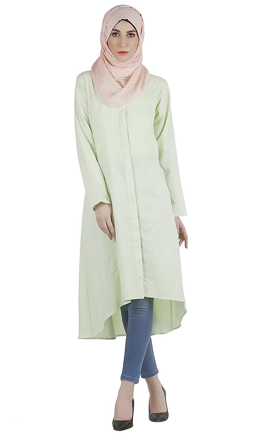 Modest Forever Lime green buttoned shirt dress modestforever