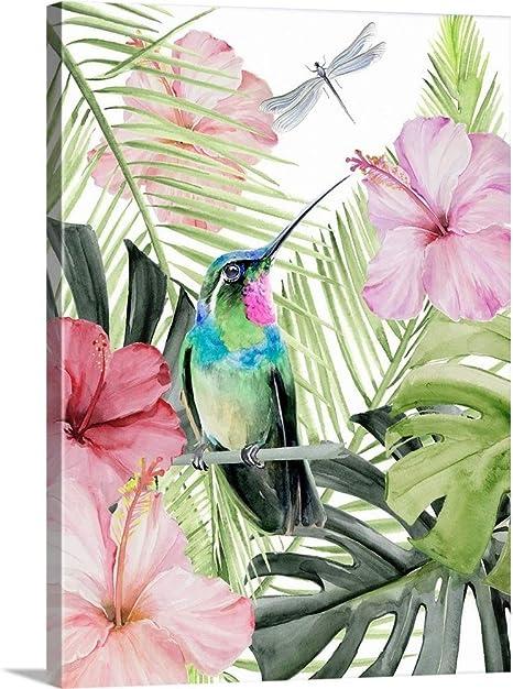 Amazon Com Hibiscus Hummingbird Ii Canvas Wall Art Print 18 X24 X1 25 Posters Prints