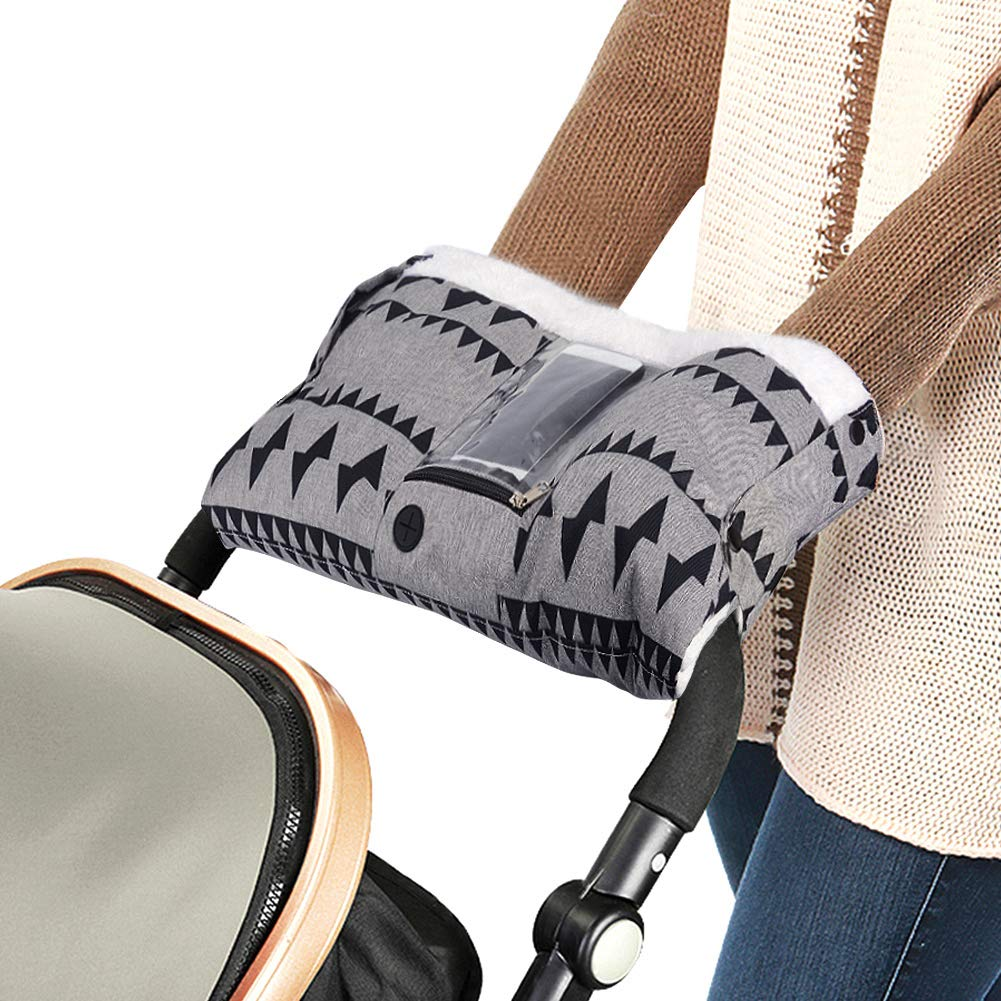 2 in 1 Extra Thick Stroller Gloves with Phone Pocket Anti-Freeze Waterproof Oxford Cloth Hand Muff Gloves Warmer Winter Gift Nigecue