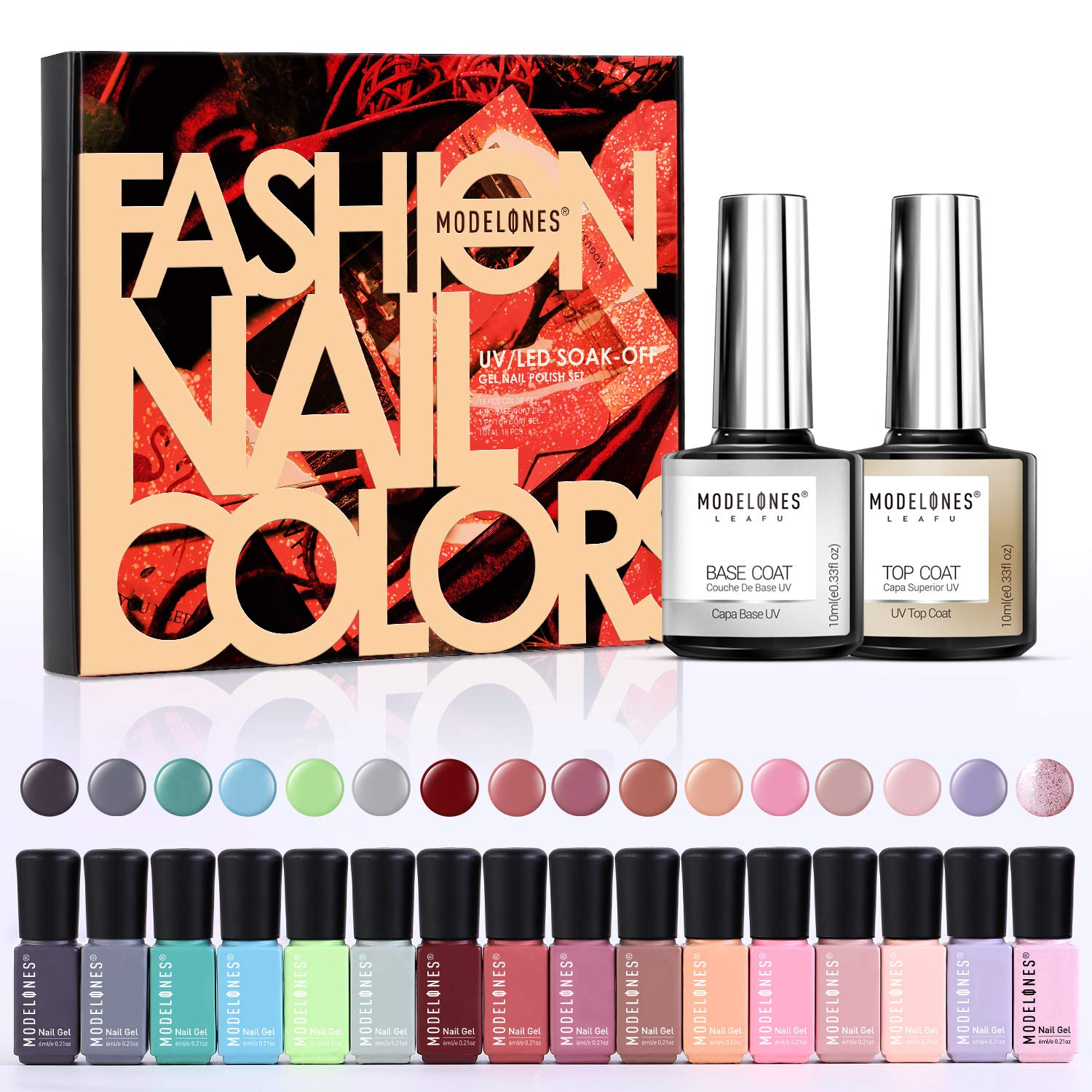 Modelones 18 PCS Soak Off Gel Nail Polish Set- 16 Color Gel with No Wipe Base and Top Coat Starter Gel Nail Manicure Kit by modelones
