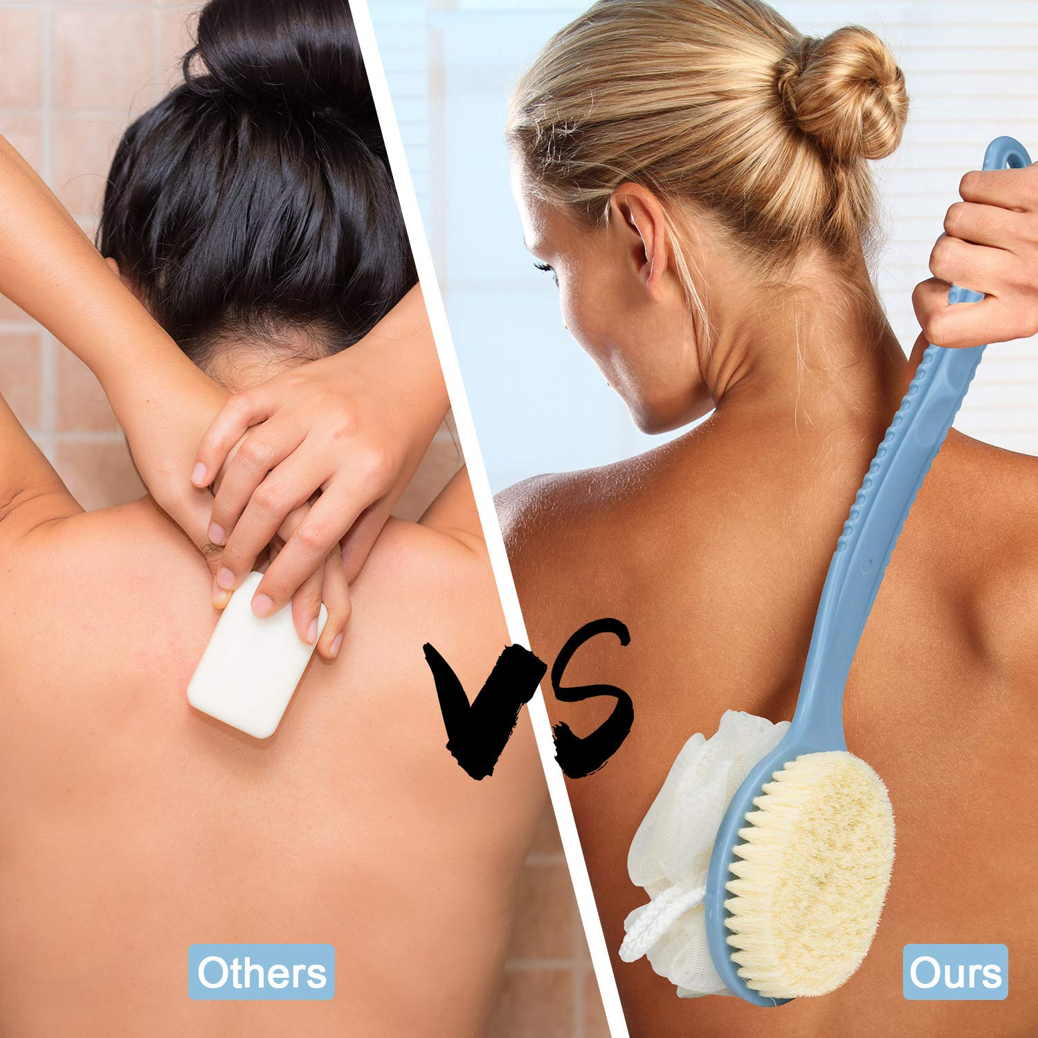 EAONE 2 PACK Shower Body Brush with Bristles and Loofah, Back Scrubber Long Handle Exfoliating Brush for Wet or Dry (Blue&White) : Beauty