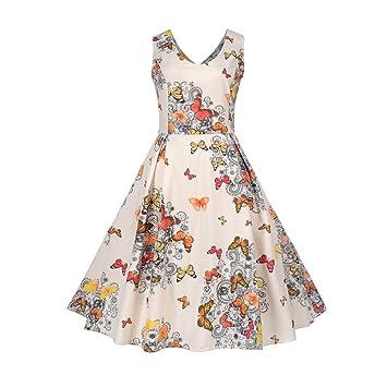 online store 0ff01 db01e Damen Sommerkleider Vintage Floral Bedruckt Patchwork Halbe ...