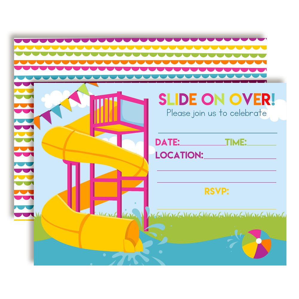 Amazon Slide Into Summer Waterslide Birthday Party Invitations For Girls 20 5x7 Fill In Cards With Twenty White Envelopes By AmandaCreation Toys
