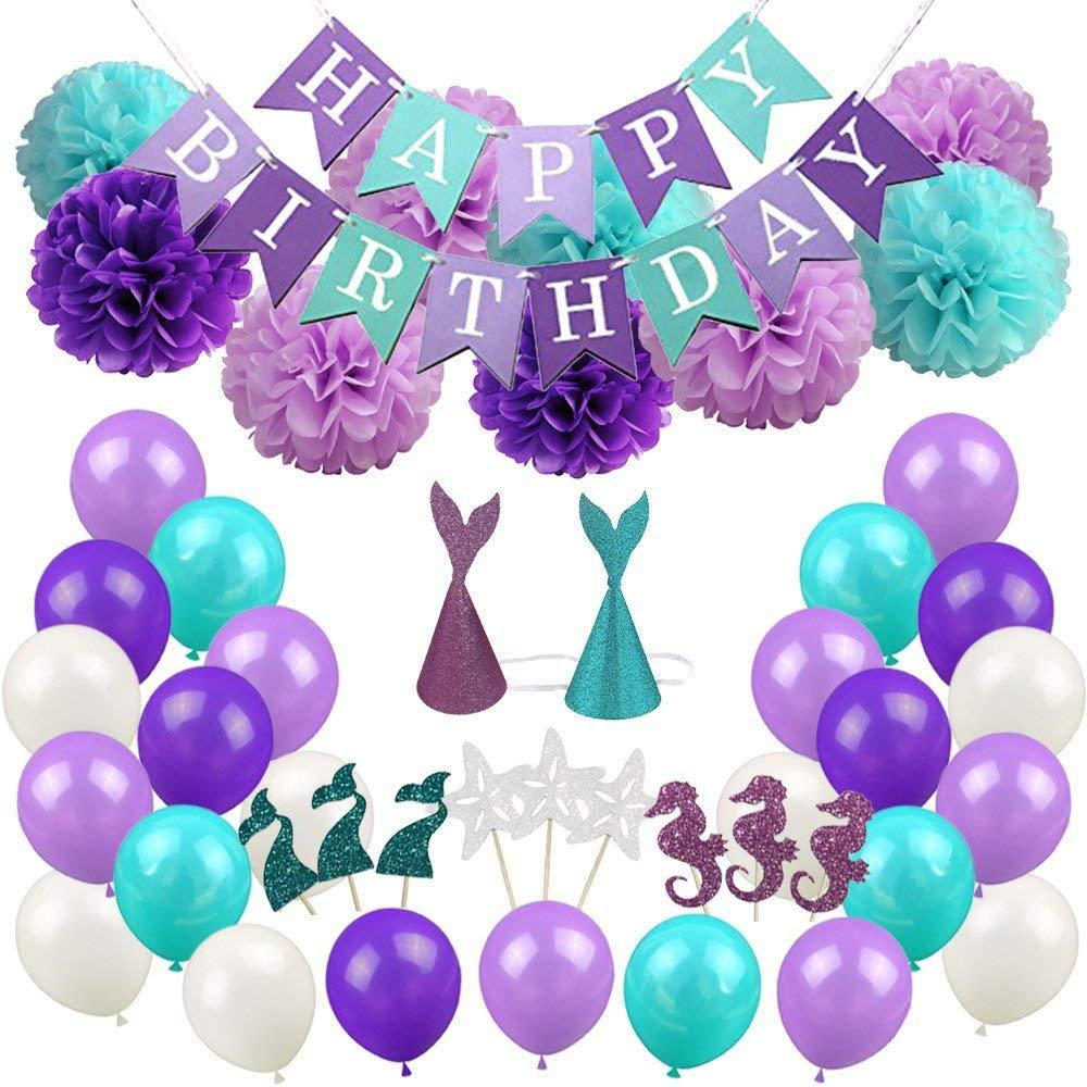 Mermaid Party Supplies-Girls Birthday Party Decorations Pack of Happy Birthday Banner, Paper pom poms flowers, Mermaid party hats, Mermaid cupcake toppers, Latex balloons, 76pcs