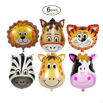 Amazon.com: 6 pcs Tropical Hawaii globos, animales del zoo ...