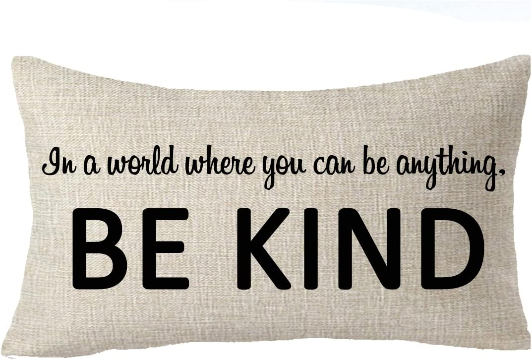 FELENIW in A World Where You Can Be Anything Be Kind Office Throw Pillow Cover Cushion Case Cotton Linen Material Decorative Lumbar 12X20 inches