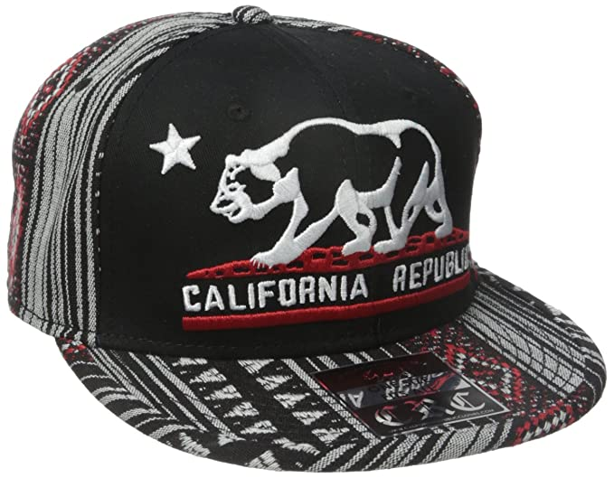 Image Unavailable. Image not available for. Color  California Republic  Embroidered Bear Flag Flat Bill Snapback Hat ... b87a0596903a