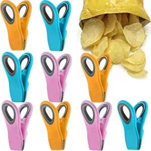 9 Pack Clips for Food Packages, Premium Chip Clips, Magnetic Clips for Refrigerator, 3 Colors Food Bag Clips with Airtight Seal, Best Kitchen Accessories for Kitchen Storage, Decoration (9 Pcs)