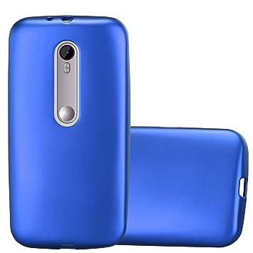 Cadorabo Funda para Motorola Moto G3 en Metallic Azul – Cubierta Proteccíon de Silicona TPU Delgada e Flexible con Antichoque – Gel Case Cover Carcasa ...