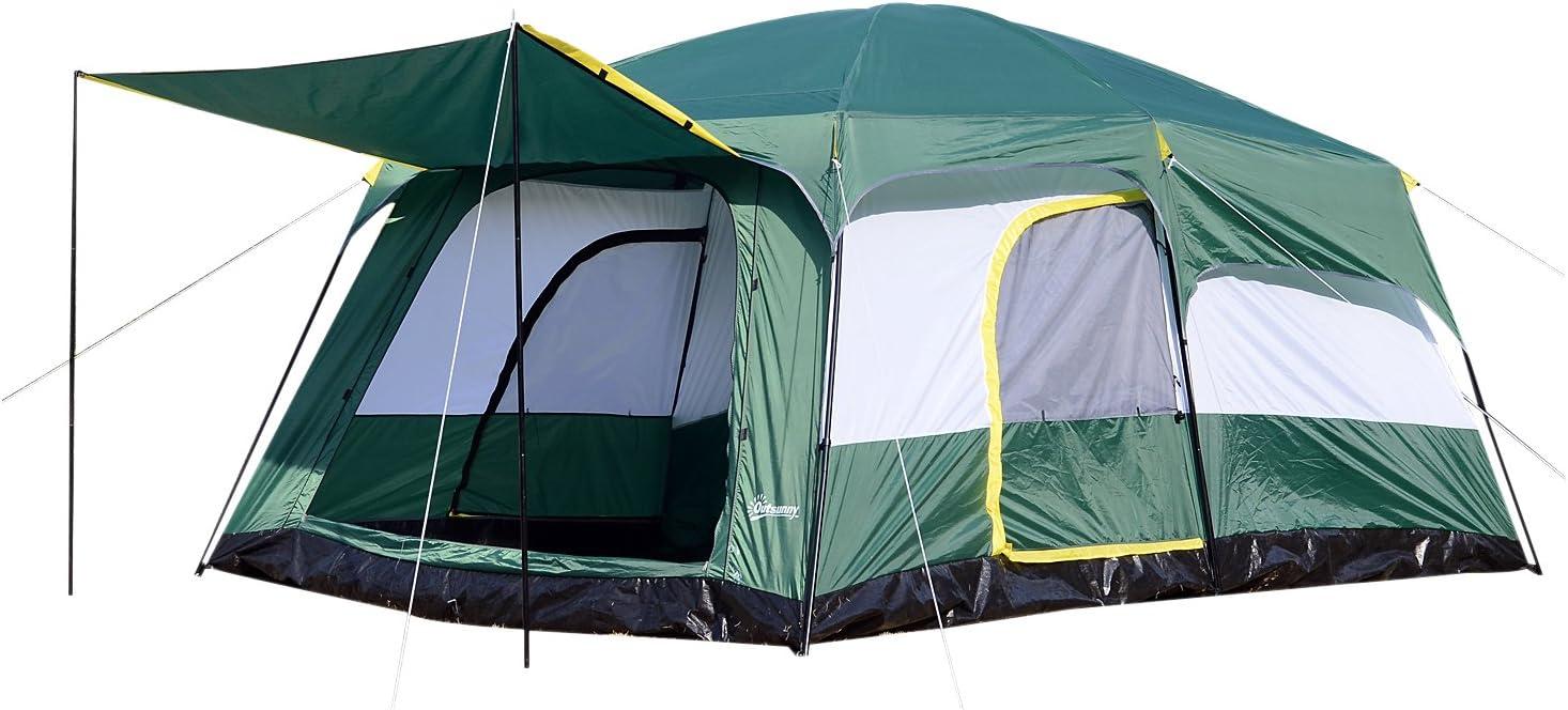Outsunny Tienda de Campaña Familiar 8-10 Personas Carpa Grande Acampada Tipo Refugio para Playa Picnic Portátil y Impermeable con Bolsa de Transporte ...