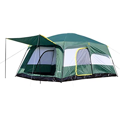 Outsunny Tienda de Campaña Familiar 8-10 Personas Carpa Grande Acampada Tipo Refugio para Playa Picnic Portátil y Impermeable con Bolsa de Transporte Mosquitera Protección Solar UV 4.3x3x2m