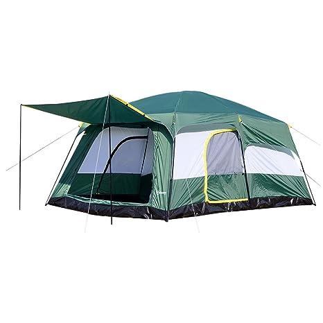 Outsunny Tienda de Campaña Familiar 8-10 Personas Carpa Grande Acampada Tipo Refugio para Playa