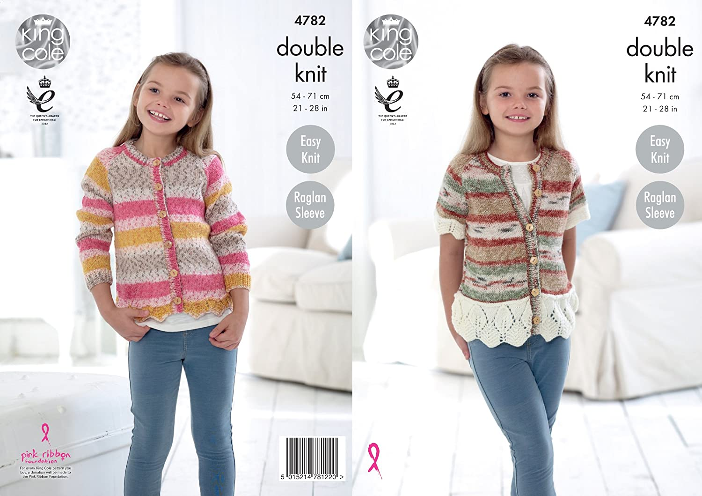 King Cole 4782 Knitting Pattern Girls Easy Knit Raglan Cardigans in King Cole DK