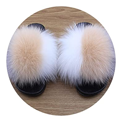 cd94bbb666d4 Slippers Fox Fur Fluffy Mixed Colors Fur Slides Rubber Flat Non Slip Indoor Sandals  Shoes