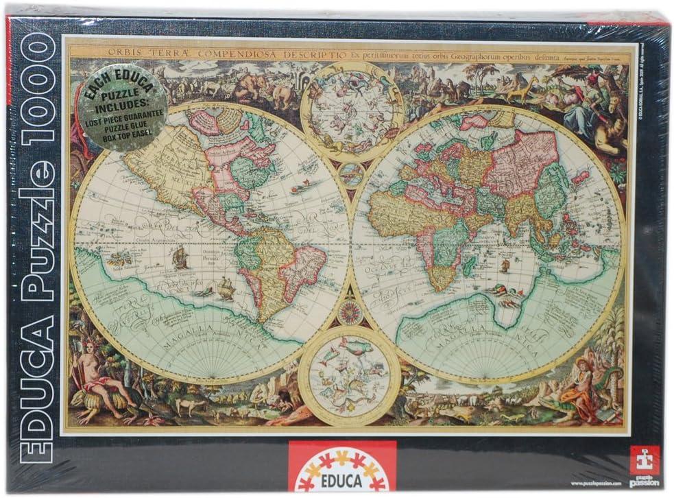 Educa Borrás 1000 Piezas Genuine - Juego 1000 Mapa del Mundo Antiguo 14115: Amazon.es: Juguetes y juegos