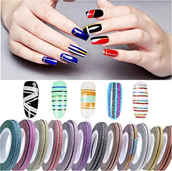 Amazon.com: XICHEN 42 Pieces Nail Art Striping Tape Line Decoration ...