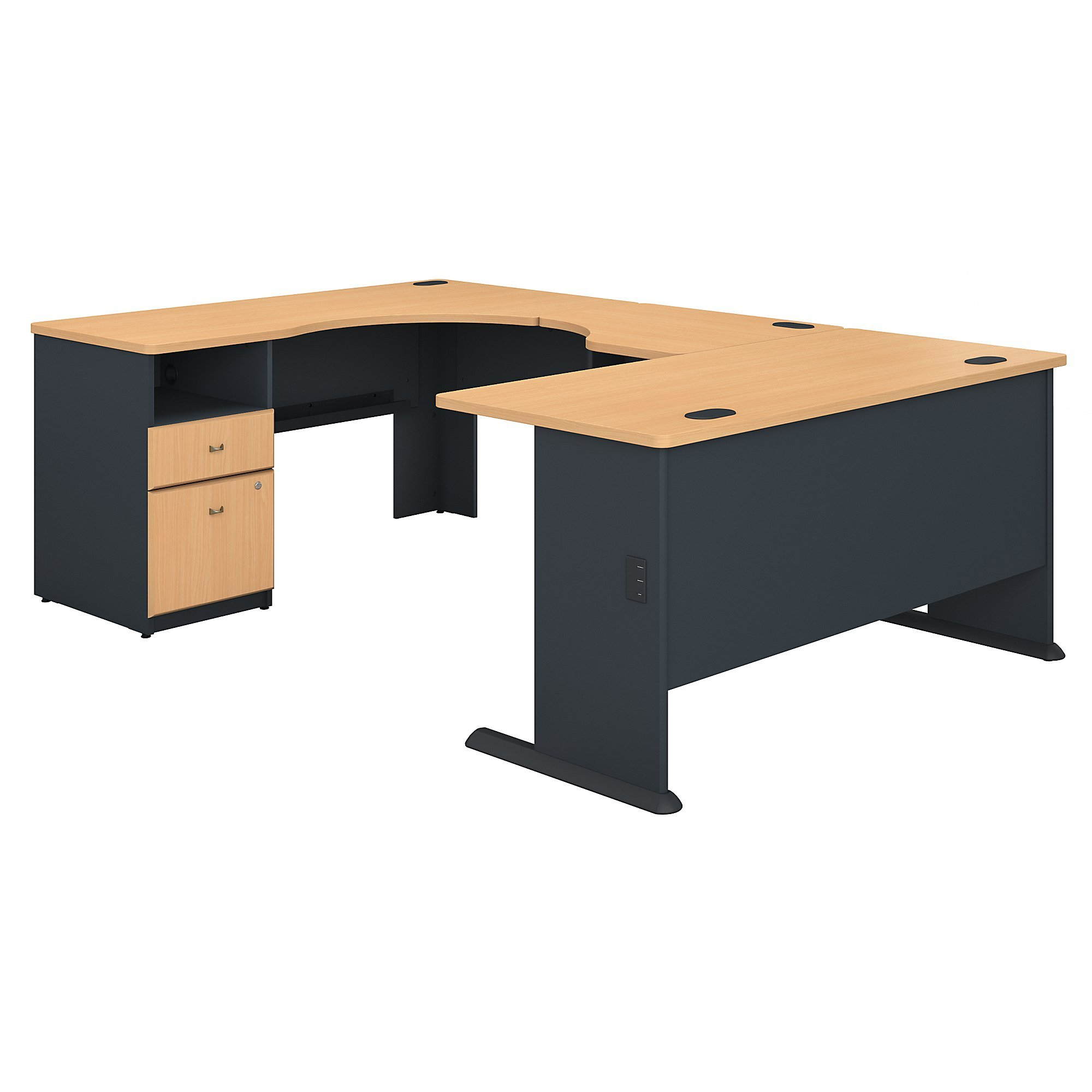 Bush Business Furniture Series A 60W x 93D U Shaped Desk with 2 Drawer Pedestal in Beech and Slate