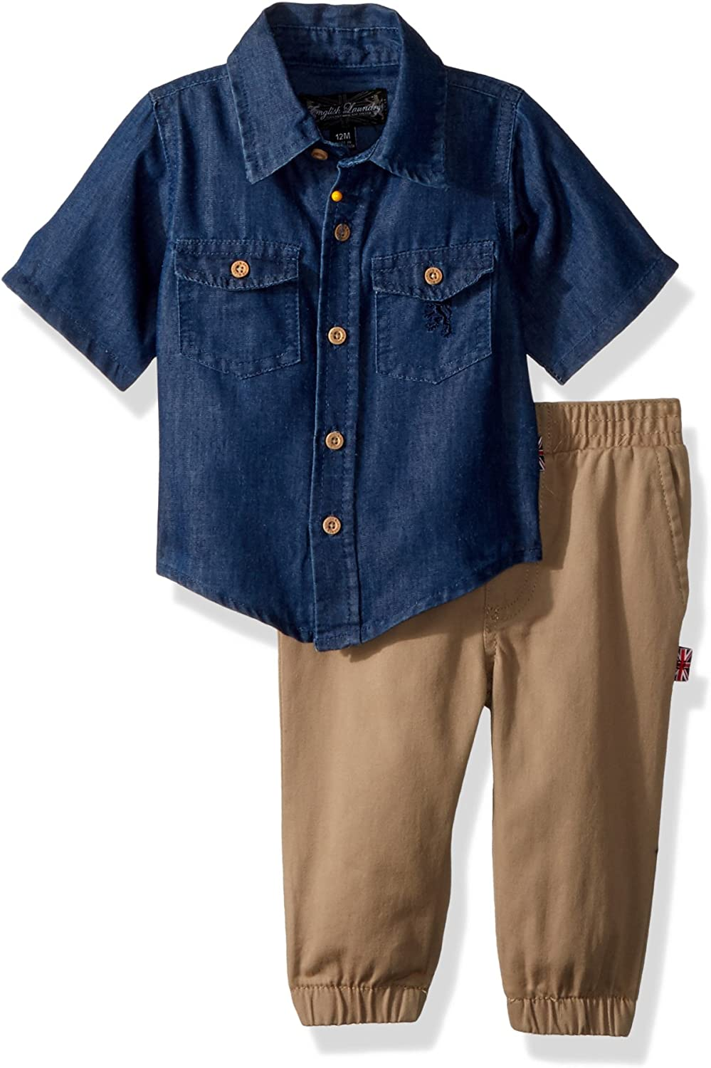 English Laundry Baby Boys Denim Sport Shirt with Pull on Twill Jogger Pant