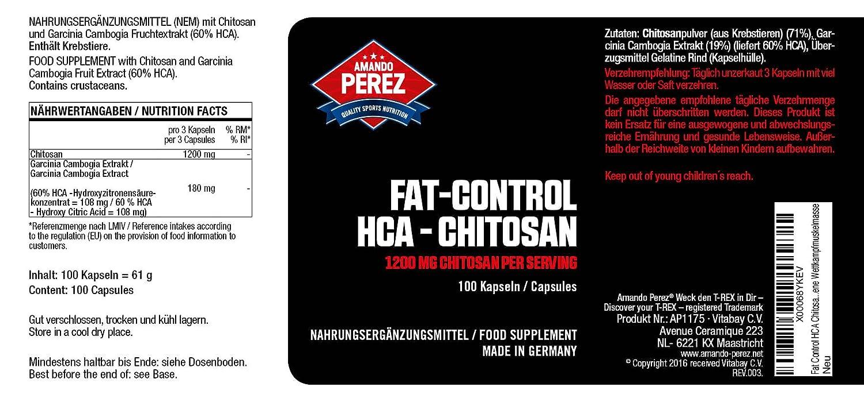 Control de grasa HCA Chitosan - Bloqueador de grasa Bloqueador de grasa - 1200 mg por porción - 100 cápsulas - Para la masa muscular de competición seca sin ...