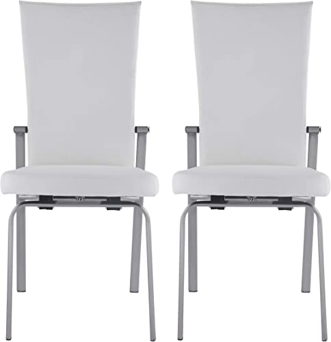 Milan Monique White Motion Back Side Chair Set of 2