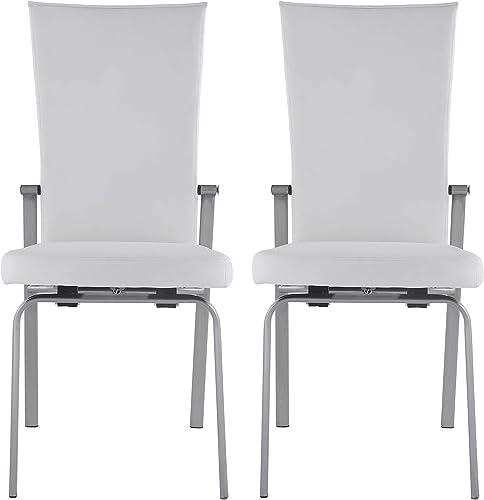 Milan Monique White Motion Back Side Chair Set of 2