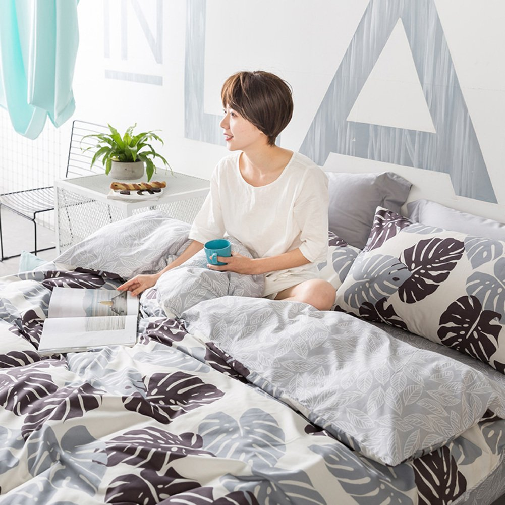 LJ&XJ Soft cotton duvet cover,Breathable quilt cover elegant queen&king reactive printing and dyeing moisture-wicking student dormitory-I 180x200cm(71x79inch)